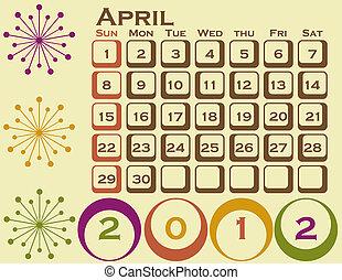 stil, sätta, 1, april, retro, kalender, 2012