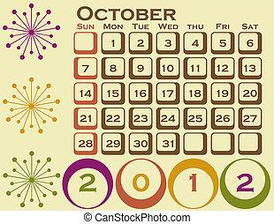 stil, sätta, 1, oktober, retro, kalender, 2012