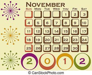 stil, sätta, 1, retro, november, kalender, 2012