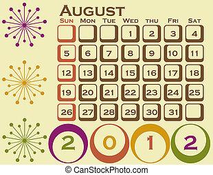 stil, sätta, augusti, 1, retro, kalender, 2012