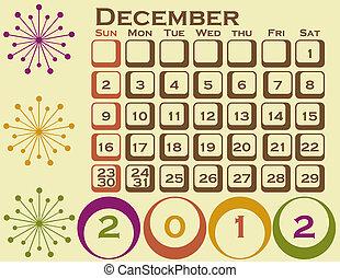 stil, sätta, december, 1, retro, kalender, 2012