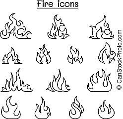 stil, sätta, eld, klen förfaringssätt, ikon