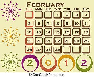 stil, sätta, februari, 1, retro, kalender, 2012