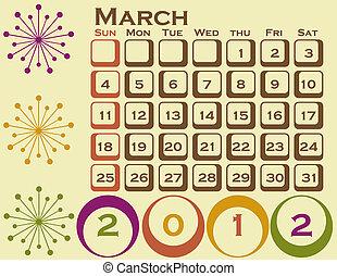 stil, sätta, mars, 1, retro, kalender, 2012