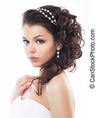 stil, smink, fiancee., -, ung, blid, bröllop, frisyr