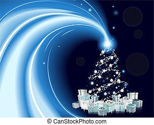 stil, träd, nymodig, bakgrund, jul
