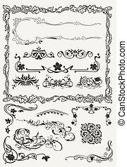 stilar, ornamental, elementara, kollektion, forntida, design, kanter