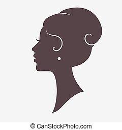 stilig, frisyr, silhuett, flicka, ansikte