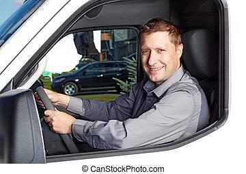 stilig, lastbil, driver.