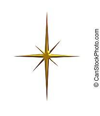 stjärna, guld, lysande