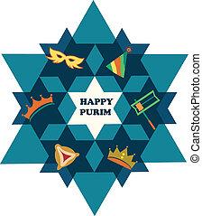 stjärna, judisk, purim., david, objekt, helgdag, lycklig