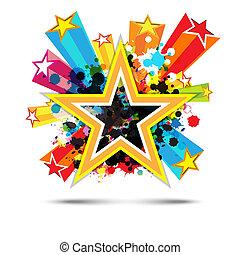 stjärna, sammandrag formge, bakgrund, firande