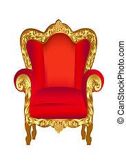 stol, gammal, röd, guld