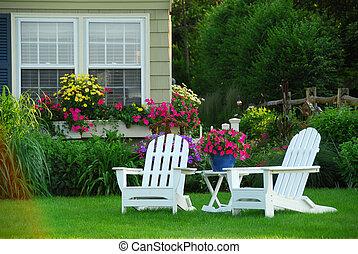 stol, gräsmatta, två