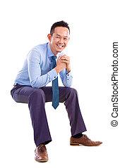 stol, man, asiat, transparent, sittande