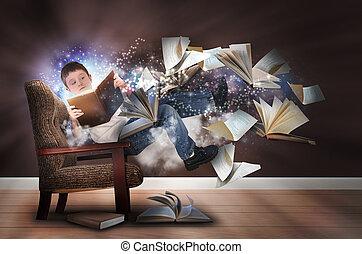 stol, pojke läsa, böcker, fantasi