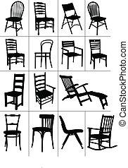 stol, silhouettes., sätta, stor, hem