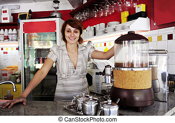stolt, liten, ägare, business:, eller, servitris