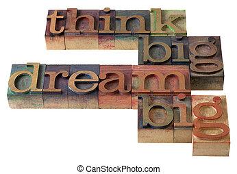 stor, dröm, tänka
