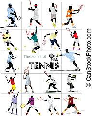 stor, sätta, man, player., tennis, colo