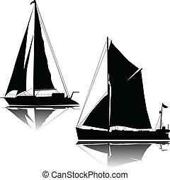 stort, sänder, två, segla