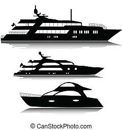 stort, silhouettes, vektor, yachter