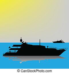 stort, yacht, hav