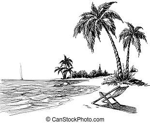 strand, blyertspenna, sommar, teckning