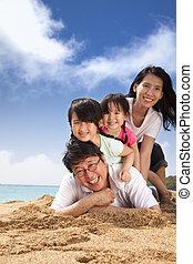 strand, familj, lycklig