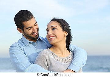 strand, kärlek, par, lycklig, tillfällig, arab, kel