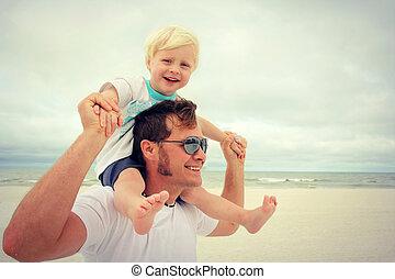 strand, lycklig, fader, barn