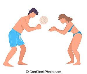 strand, man, semester, kvinna, spelande volleyboll