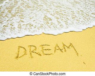 strand, skrev ord, dröm, sandig