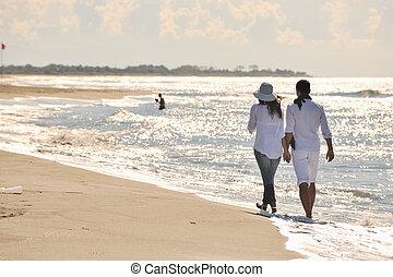 strand, vacker, lycklig, nöje, par, ha, ung