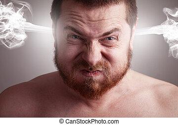 stressa, begrepp, ilsket, -, huvud, exploderande, man