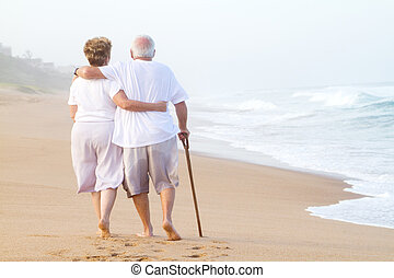 strosa, par, strand, äldre