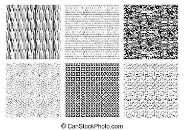 strukturer, ojämn, svart, bakgrund., monokrom, surface., isolerat, vita vägg, tegelpanna, sätta, mönster, påfallande, tegelsten, spåra, struktur, illustration., sten, summera