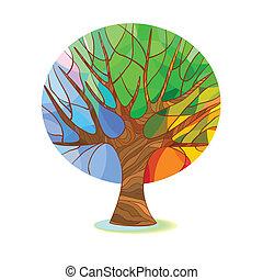 stylized, träd, -, fyra kryddar