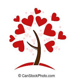 stylized, träd, gjord, älska hjärtan