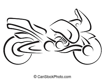 stylized, vektor, illustra, motorcykel