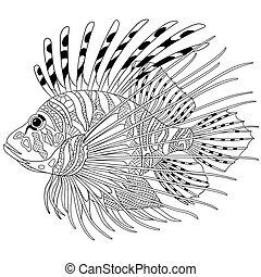 stylized, zentangle, fish