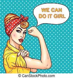 styrka, henne, hemmafru, kvinna, attraktiv, klarlagt, pop, tillitsfull, konst
