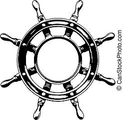 styrning hjul, skepp, (vector)
