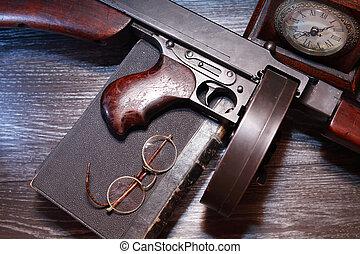 submachine, gammal, gevär, usa