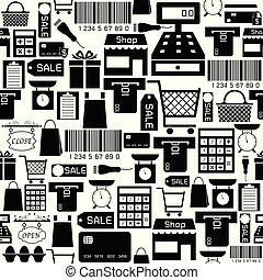 supermarket, mönster, icon., seamless, bakgrund