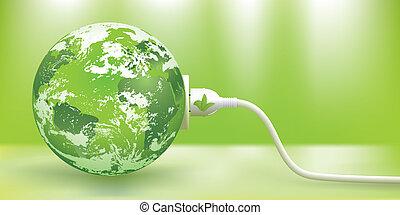 sustainable, vektor, energi, grön, begrepp