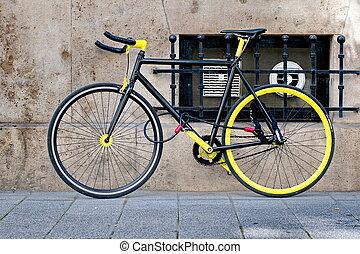 svart, cykel, låst, gul, kylig