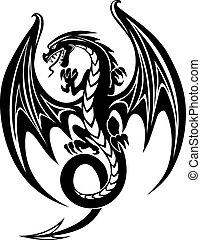 svart, drake