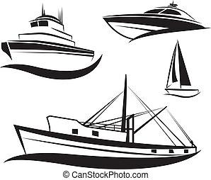 svart, skepp, båt, sätta, vektor