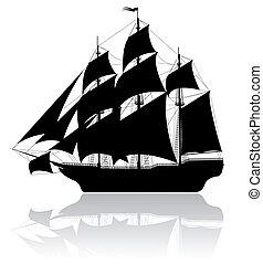 svart, skepp, gammal